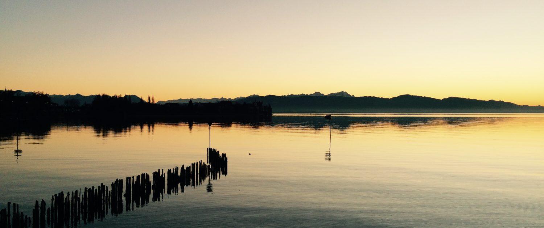 Herbstlicher Sonnenuntergang in Wasserburg